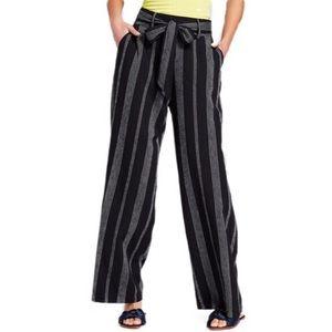 A New Day Black Striped Linen Wide Leg Pants